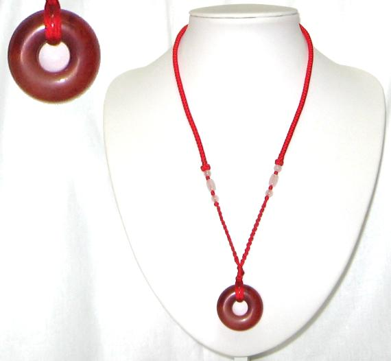 Chinese red jade pi disc necklace aloadofball Image collections