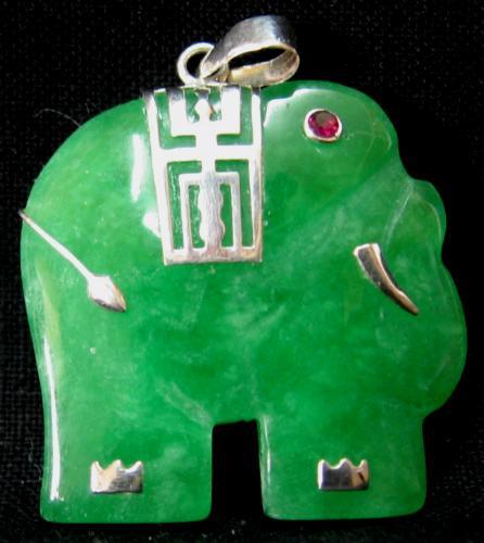 Sterling silver green chinese jade elephant pendant aloadofball Gallery