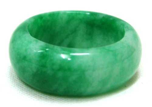 Dark And White Green Jade Ring