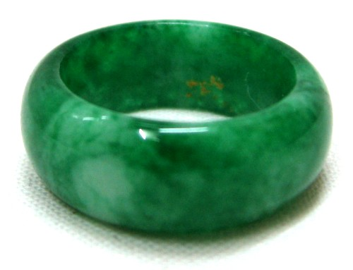 Deep Green Emerald Color Chinese Jade Ring