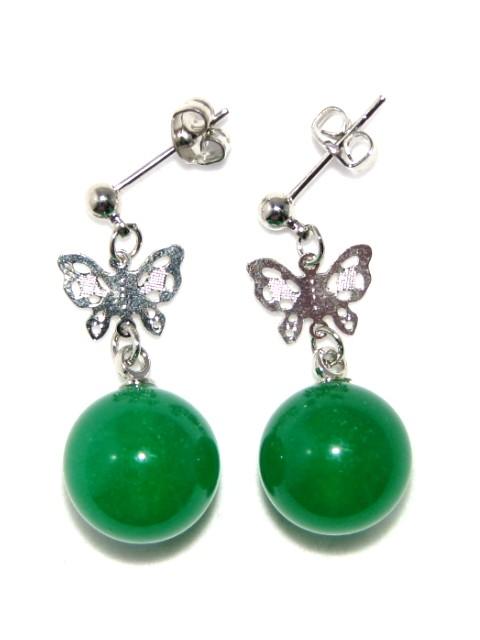 Chinese Green Jade Butterfly Earrings