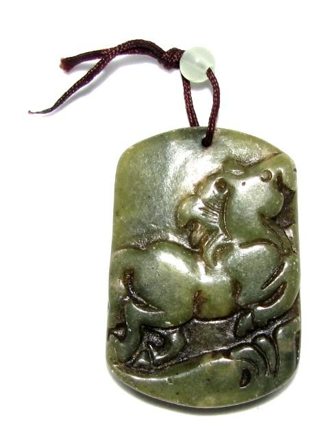 Antique look jade horse pendant aloadofball Choice Image